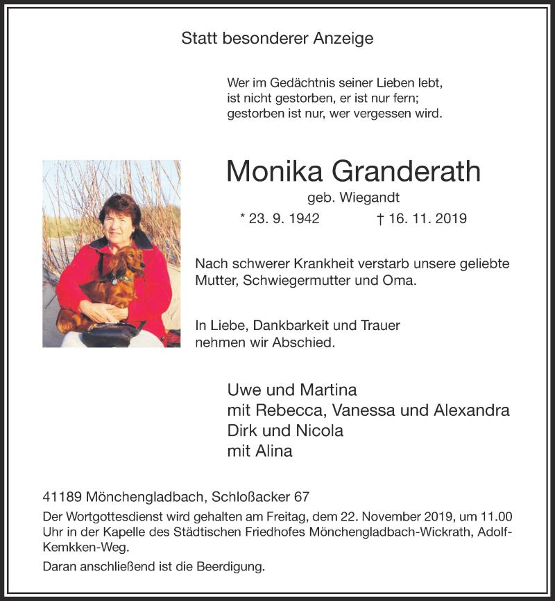 Anzeige von  Monika Granderath