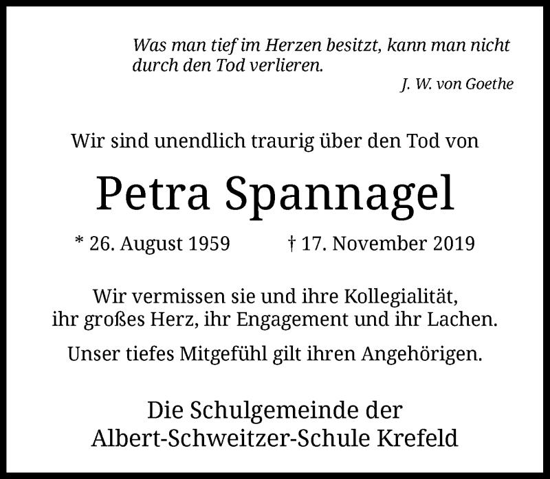 Traueranzeige für Petra Spannagel vom 30.11.2019 aus Rheinische Post