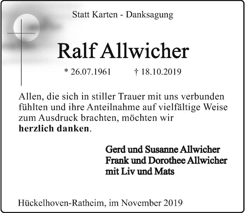 Anzeige von  Ralf Allwicher