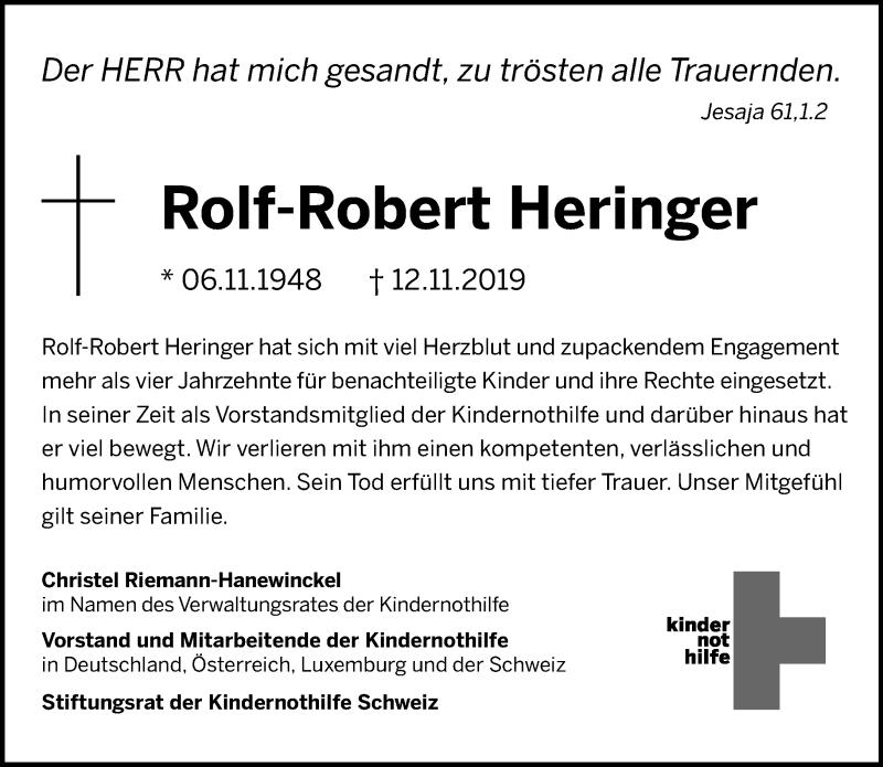 Anzeige von  Rolf-Robert Heringer