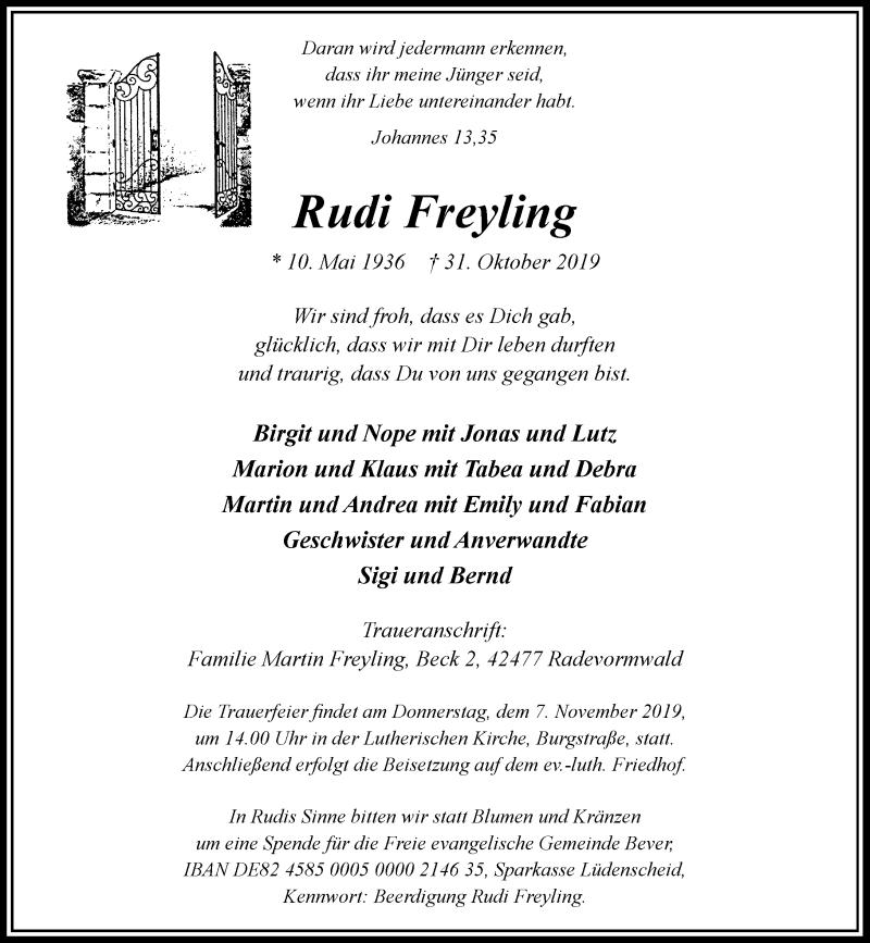 Anzeige von  Rudi Freyling