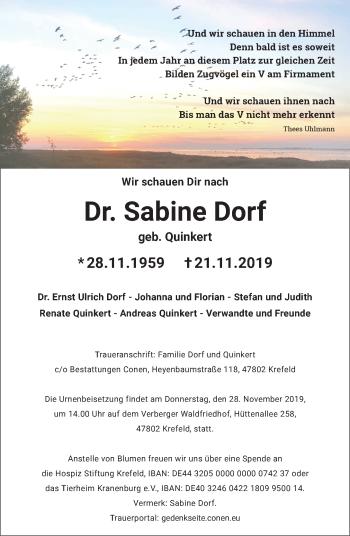 Traueranzeige von Sabine Dorf von Rheinische Post