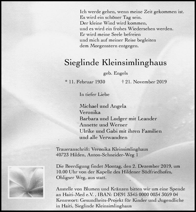 Traueranzeige für Sieglinde Kleinsimlinghaus vom 30.11.2019 aus Rheinische Post