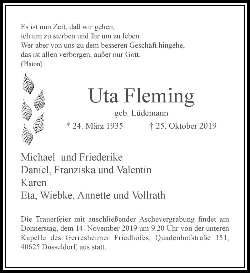 Traueranzeige für Uta Fleming vom 09.11.2019 aus Rheinische Post