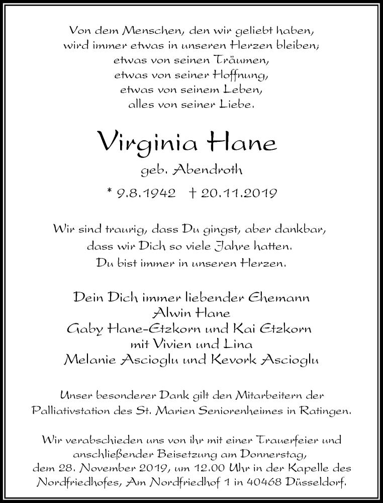 Anzeige von  Virginia Hane