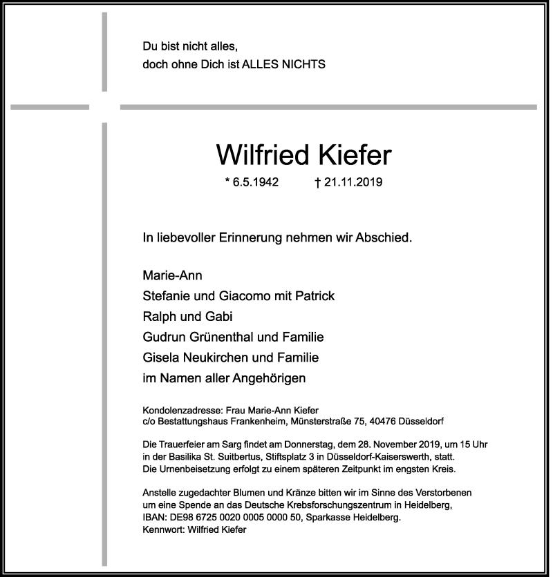 Anzeige von  Wilfried Kiefer