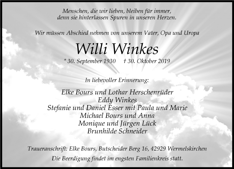 Anzeige von  Willi Winkes