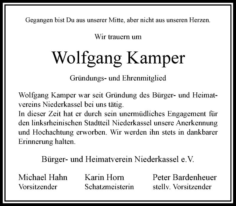 Traueranzeige für Wolfgang Kamper vom 30.11.2019 aus Rheinische Post
