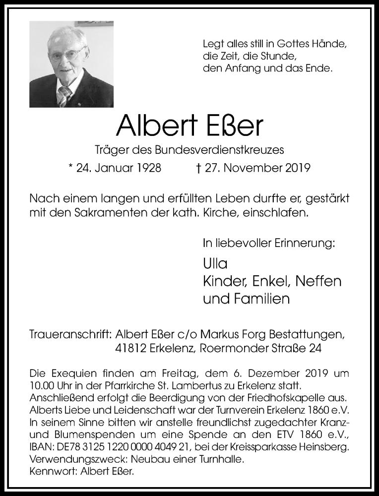 Anzeige von  Albert Eßer
