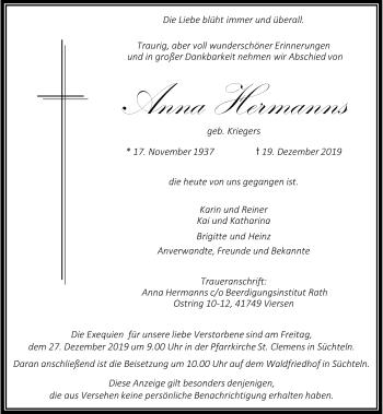 Traueranzeige von Anna Hermanns von Rheinische Post