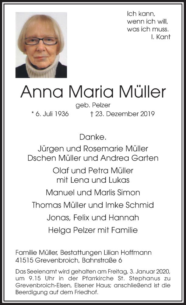 Anzeige von  Anna Maria Müller