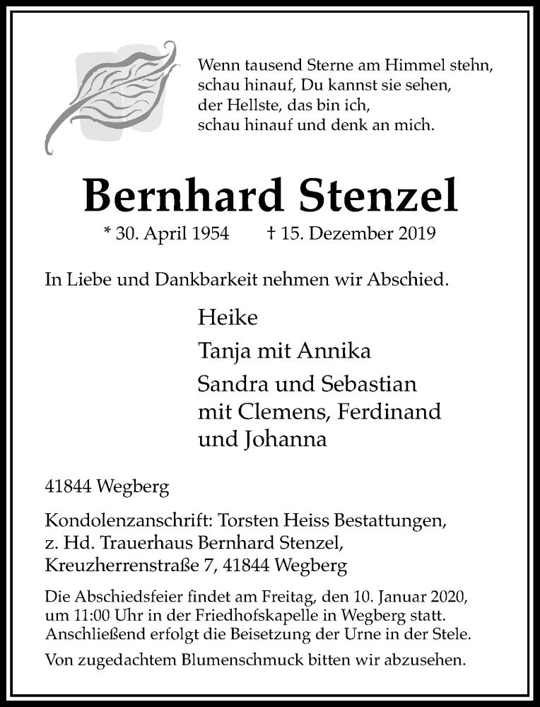 Anzeige von  Bernhard Stenzel