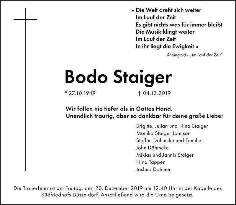 Anzeige von  Bodo Staiger
