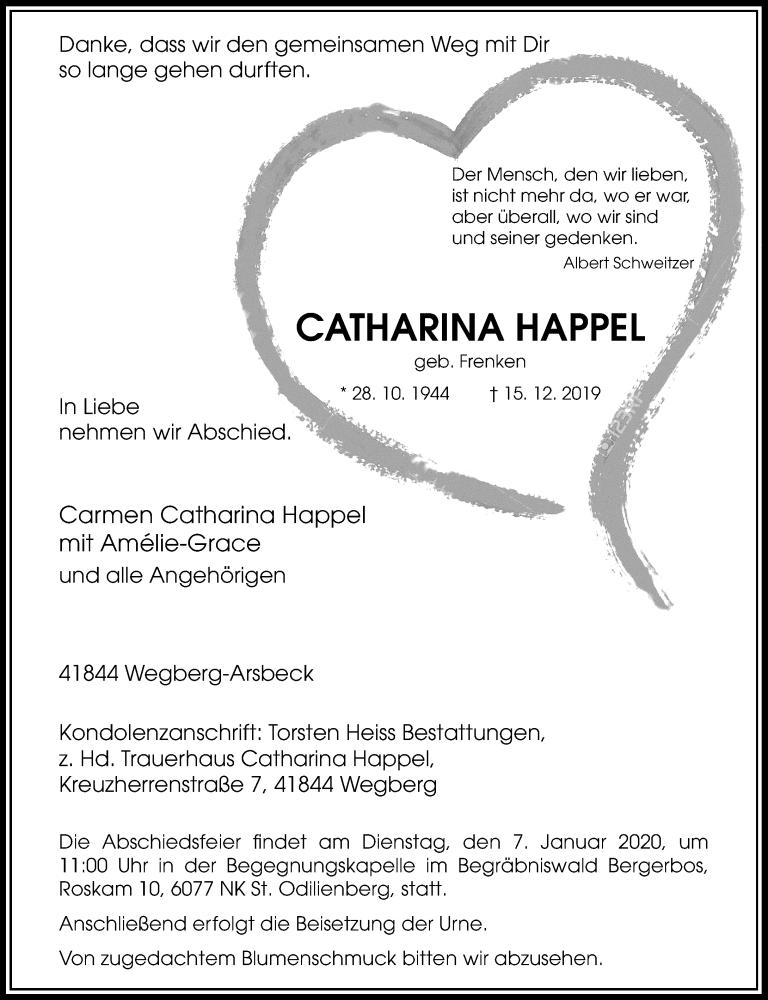 Anzeige von  Catharina Happel