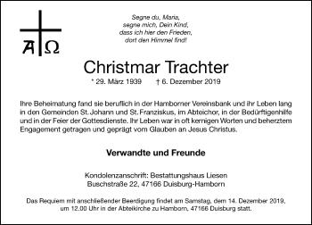 Traueranzeige von Christmar Trachter von Rheinische Post
