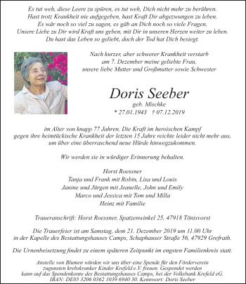 Traueranzeige von Doris Seeber von Rheinische Post