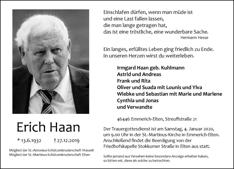 Anzeige von  Erich Haan