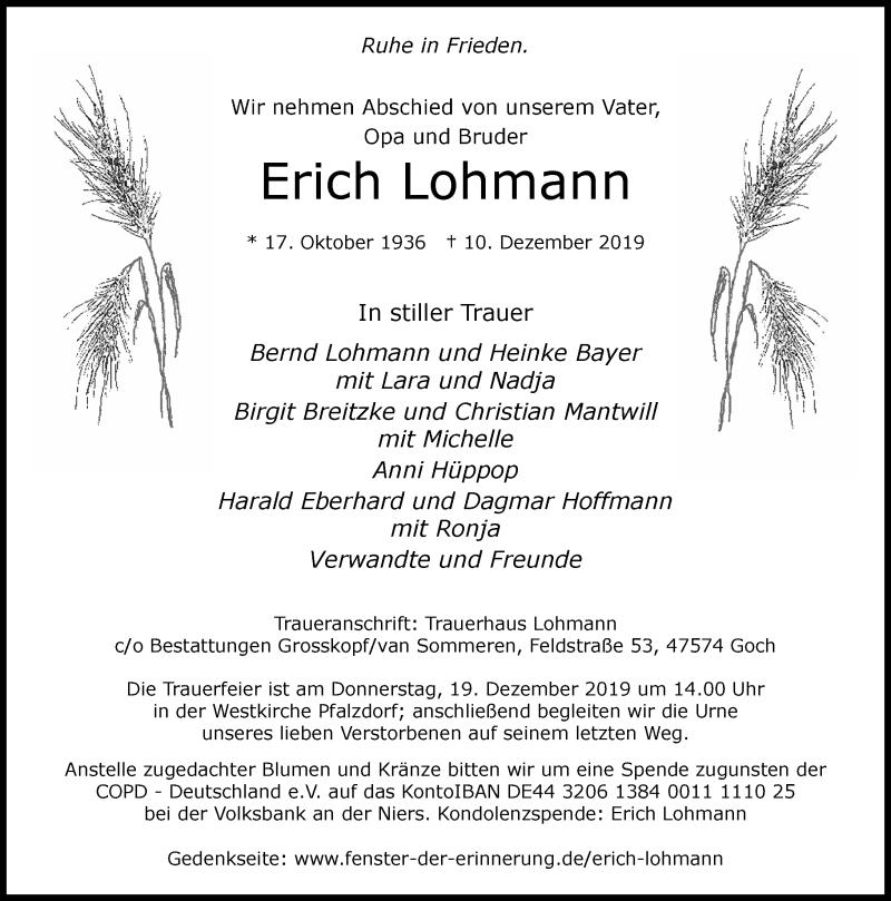 Anzeige von  Erich Lohmann