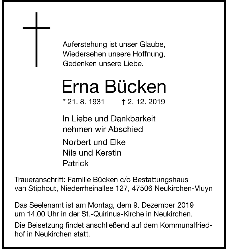 Traueranzeige für Erna Bücken vom 05.12.2019 aus Rheinische Post