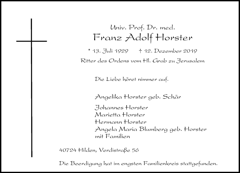 Anzeige von  Franz Adolf Horster