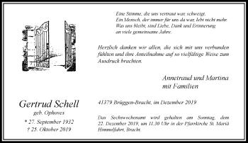 Traueranzeige von Gertrud Schell von Rheinische Post