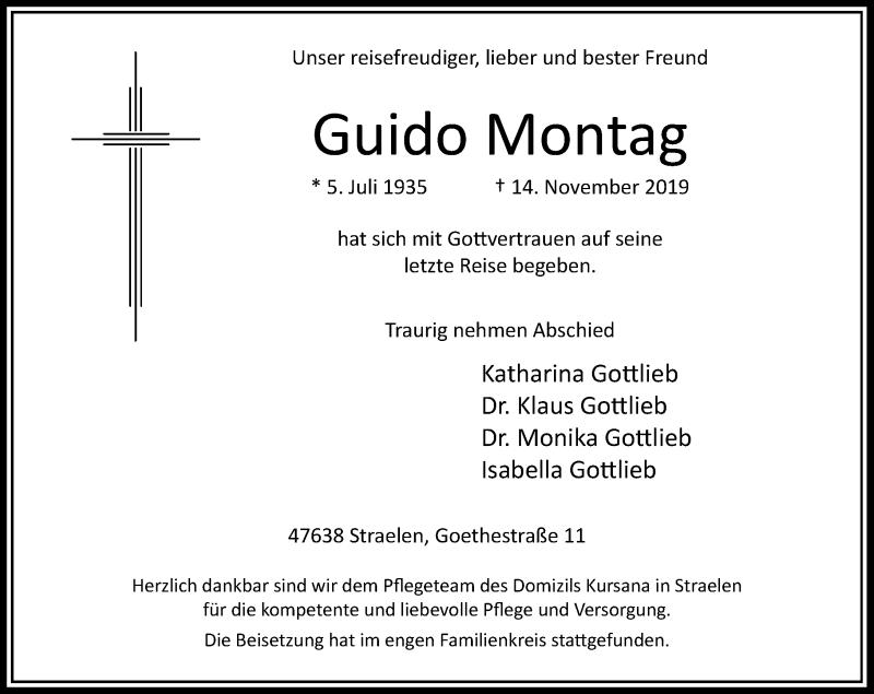Anzeige von  Guido Montag