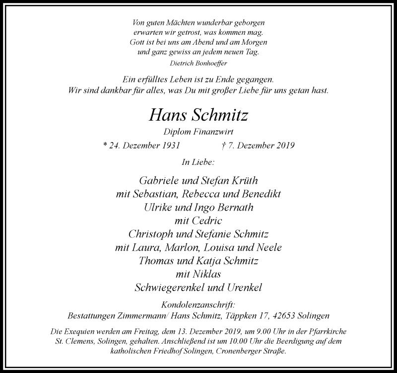 Anzeige von  Hans Schmitz