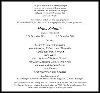 Traueranzeige von Hans Schmitz von Rheinische Post