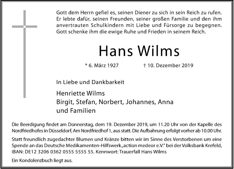Anzeige von  Hans Wilms