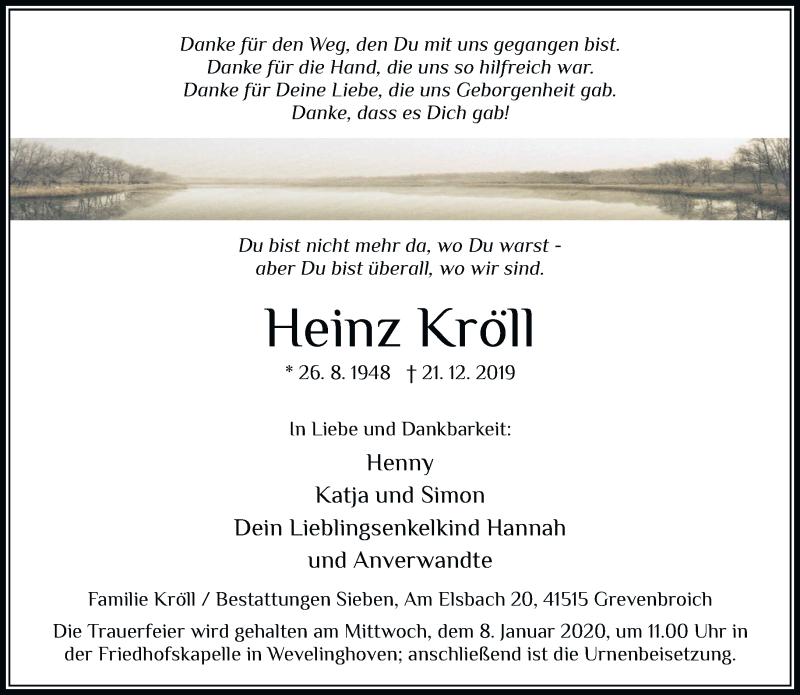 Anzeige von  Heinz Kröll