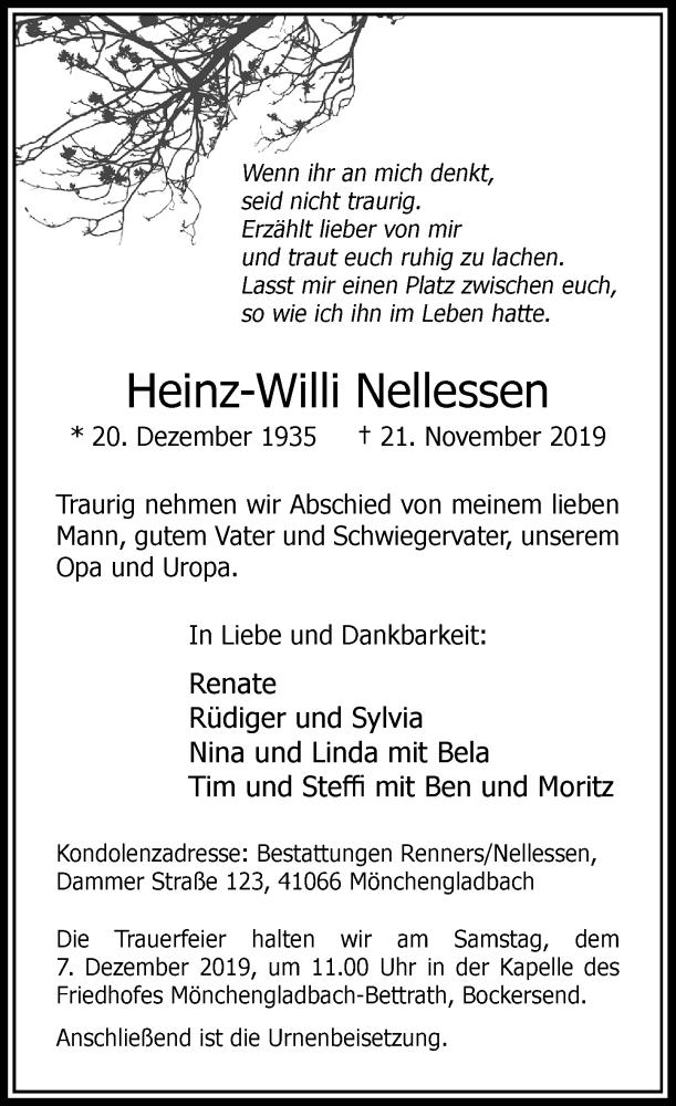 Anzeige von  Heinz-Willi Nellessen