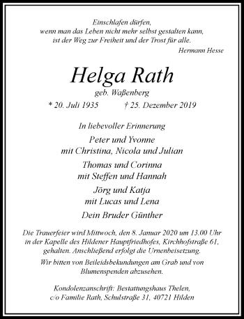 Traueranzeige von Helga Rath von Rheinische Post