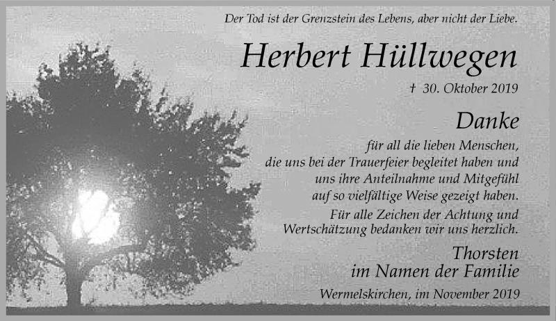 Anzeige von  Herbert Hüllwegen