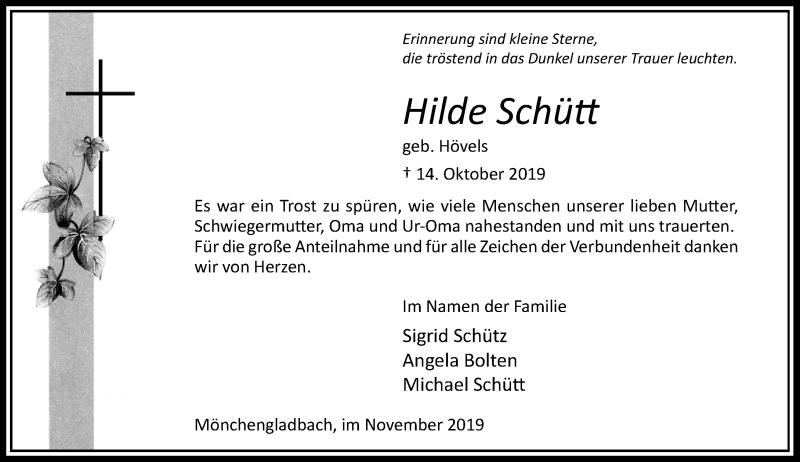 Traueranzeige für Hilde Schütt vom 30.11.2019 aus Rheinische Post