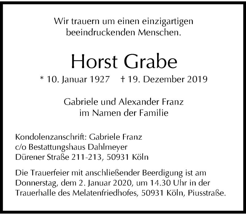 Anzeige von  Horst Grabe