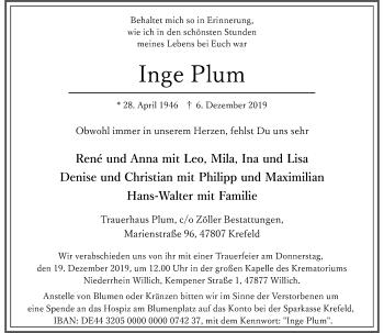 Traueranzeige von Inge Plum von Rheinische Post