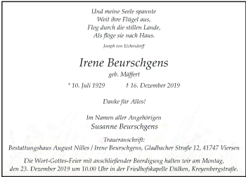 Traueranzeige von Irene Beurschgens von Rheinische Post