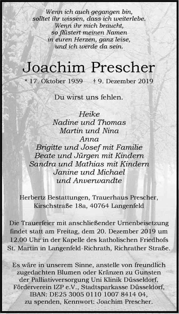 Anzeige von  Joachim Prescher