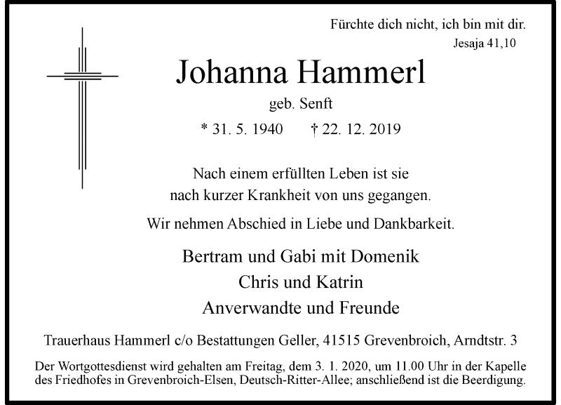 Anzeige von  Johanna Hammerl
