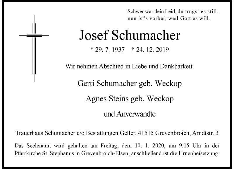 Anzeige von  Josef Schumacher