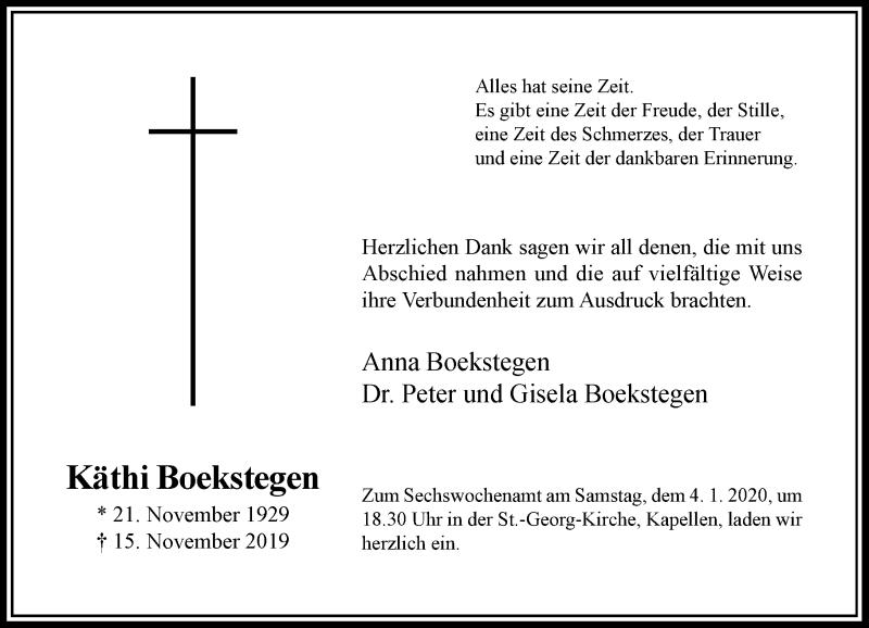 Anzeige von  Käthi Boekstegen