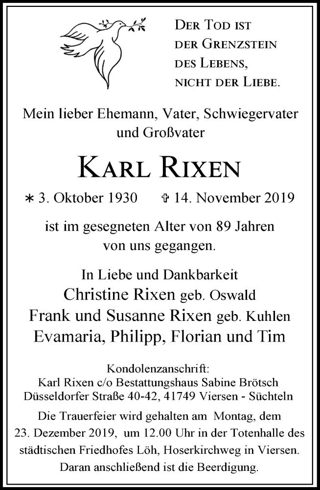 Anzeige von  Karl Rixen
