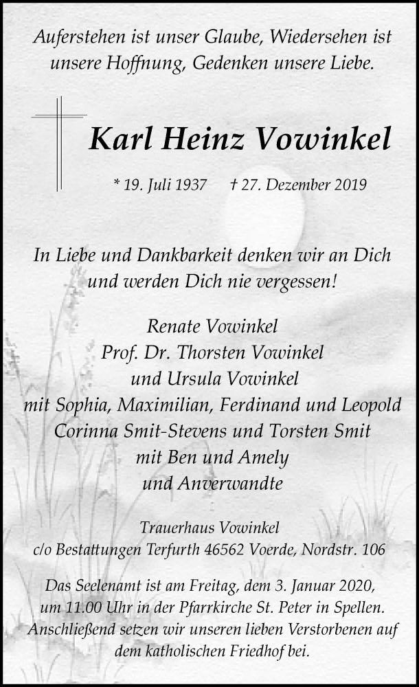 Anzeige von  Karl Heinz Vowinkel