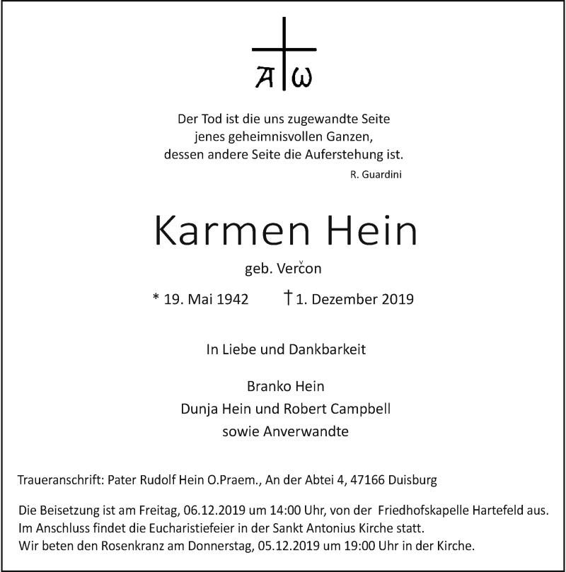 Anzeige von  Karmen Hein