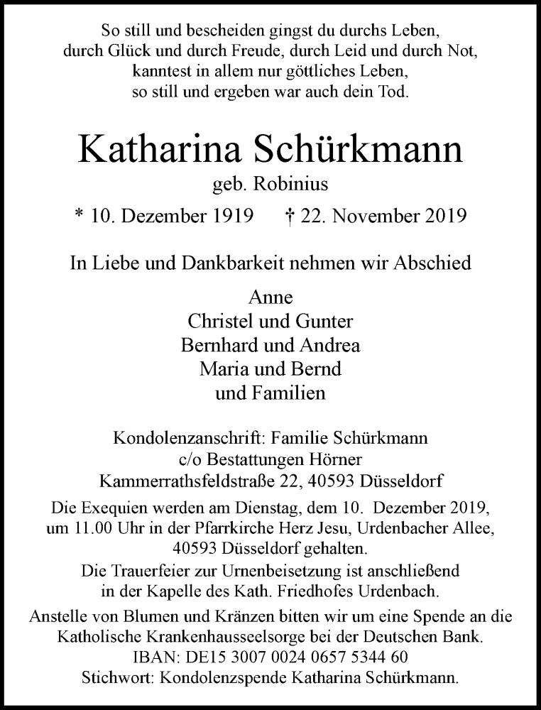 Anzeige von  Katharina Schürkmann