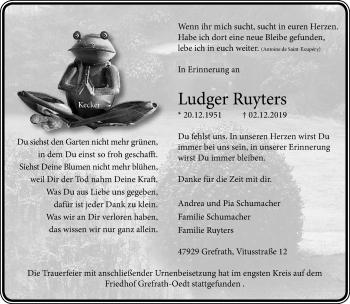 Traueranzeige von Ludger Ruyters von Rheinische Post