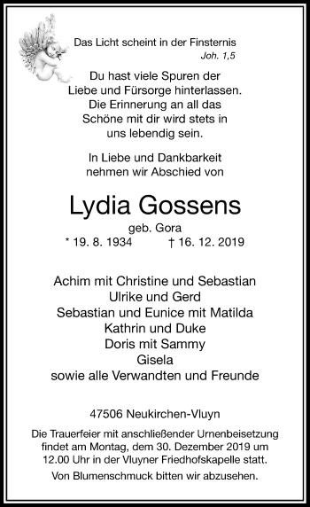 Traueranzeige von Lydia Gossens von Rheinische Post