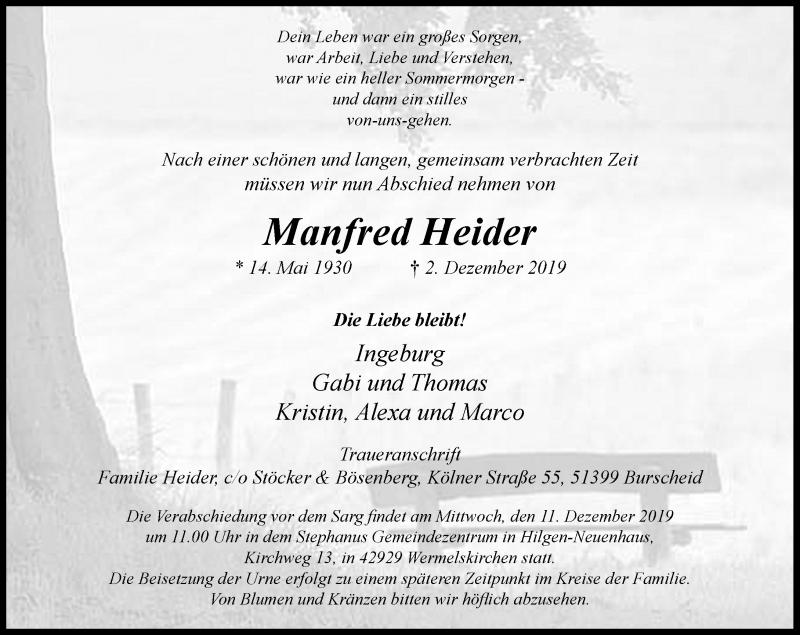 Anzeige von  Manfred Heider