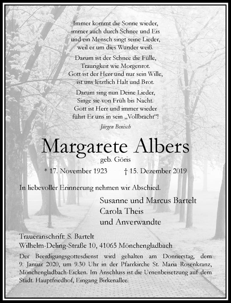 Traueranzeige für Margarete Albers vom 21.12.2019 aus Rheinische Post