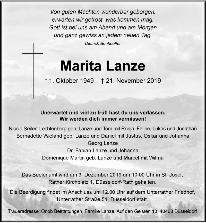 Traueranzeige für Marita Lanze vom 30.11.2019 aus Rheinische Post